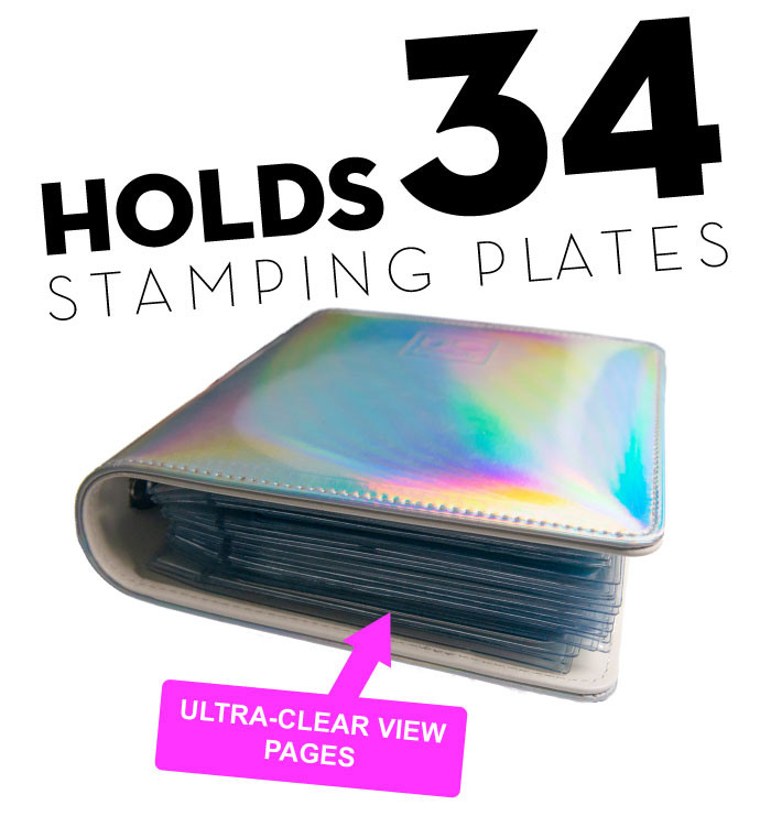 Uber Chic holo stamping plate storage folder, available at www.lanterandwren.com. Ships worldwide.