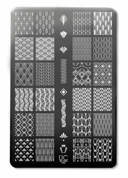 Uber Chic Art Deco nail stamping plate, available at www.lanternandwren.com.
