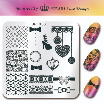 Born Pretty BP-X03 nail stamping plate. Get yours without the wait, already in the USA at www.lanternandwren.com.