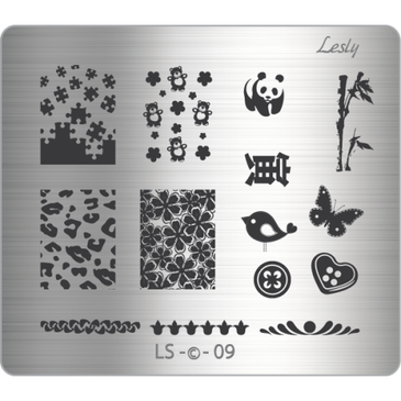 Lesly LS-09 medium nail stamping plate. Available at www.lanternandwren.com.