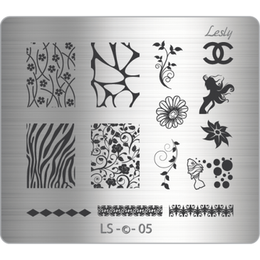 Lesly LS-05 medium nail stamping plate. Available at www.lanternandwren.com.