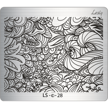 Lesly LS-28 medium nail stamping plate. Available at www.lanternandwren.com.