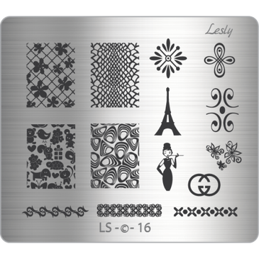 Lesly LS-16 medium nail stamping plate. Available at www.lanternandwren.com.