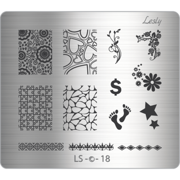 Lesly LS-18 medium nail stamping plate. Available at www.lanternandwren.com.
