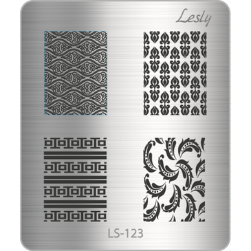 Lesly LS-123 mini nail stamping plate. Available at www.lanternandwren.com.