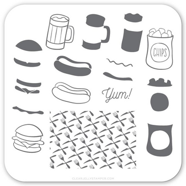 Clear Jelly Stamper Order UP! (CjS-64) nail stamping plate. Available in the USA at www.lanternandwren.com.
