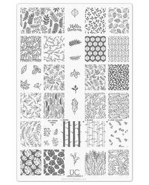 Uber Chic Lovely Leaves 03 nail stamping plate. Available at www.lanternandwren.com.