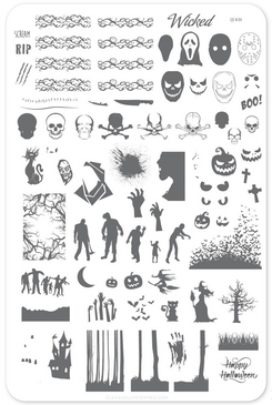 Wicked Halloween nail stamping plate by Clear Jelly Stamper, available at www.lanternandwren.com.