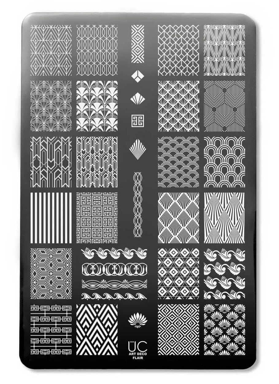 Uber Chic Art Deco Flair nail stamping plate, available at www.lanternandwren.com.