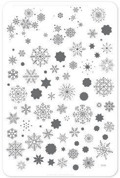 Clear Jelly Stamper layered snowflakes nail stamping plate. Available at www.lanternandwren.com.