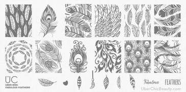 Fabulous Feathers - Uber Mini Nail Stamp Plate