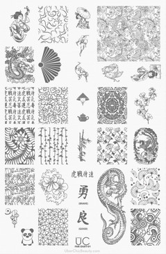 Far East-01 - UberChic Beauty Nail Stamping Plate
