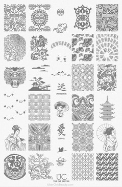 Far East-02 - UberChic Beauty Nail Stamping Plate