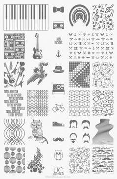 Hipster-01 - UberChic Nail Stamping Plate