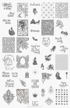 Uber Chic Fairy Tail 01 nail stamping plate. Available at www.lanternandwren.com.