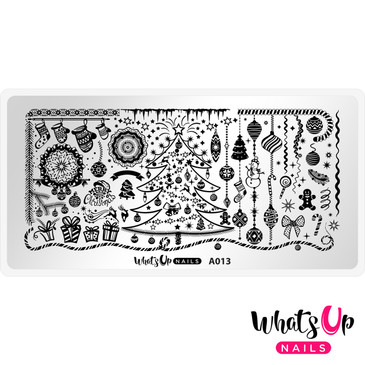 Whats Up Nails - A013 It's a Merry Christmas - Mini Nail Stamping Plate