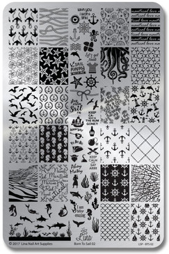 Lina Nail Art stamping plate Born to Sail 02, for summer nail art designs. www.lanternandwren.com