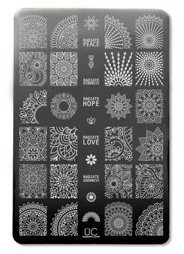 Uber Chic Radiate Love nail stamping plate. Available at www.lanternandwren.com.