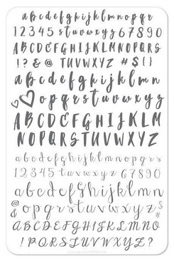 Clear Jelly Stamper Brush Alphabet stamping plate, available in the USA at www.lanternandwren.com.