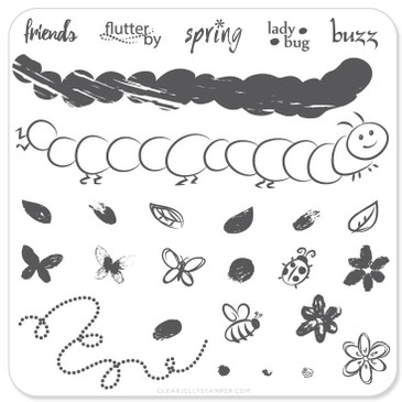 Clear Jelly Stamper Baby Bugs and Bees mini nail stamping plate, available in the USA at www.lanternandwren.com.