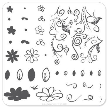 Clear Jelly Stamper Floral Swirl #2 mini nail stamping plate. Available at www.lanternandwren.com.