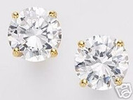 Solid 14K White Gold Princess CZ Stud Earrings 1.5ct tw NEW 5mm AAA D-Flawless