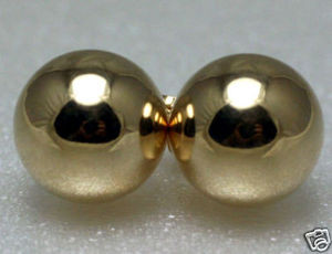 NEW Solid 14K White Gold 10MM Classic Shiny Ball Stud Earrings