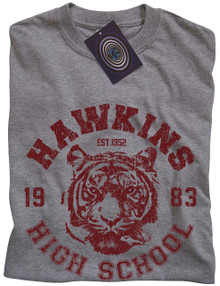 Hawkins High School (Stranger Things) T Shirt (Grey/Red)