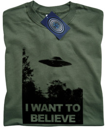 I Want To Believe T Shirt (Green)