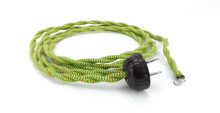 Green/Yellow?red Speckled Twisted Power Cord with Vintage Brown Art Deco Electric Plug