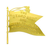 "Stamped Brass ""THE STANDARD"" Robbins & Myers Brass Flag Logo for Cage/Guard"