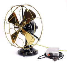 "1912 12"" Dayton Type 25 32 Volt DC Desk Fan Restored with 32 volt Power Supply"