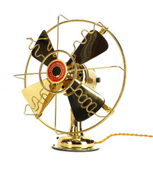 "Circa 1910 8"" All Brass Crocker Wheeler Desk Fan Professionally Restored"