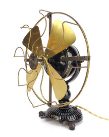 "Rare 1906 Ornate/Tab Based 12"" Diehl 110V DC Desk Fan"