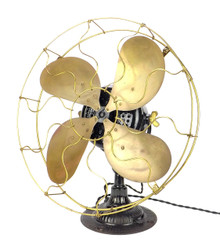 "Circa 1908 16"" Emerson Type 1820 Ornate Base Desk Fan"