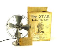 Circa 1920 The Star Nickle Desk Fan By The Fitzgerald Mfg. Co Torrington Conn. Original Box