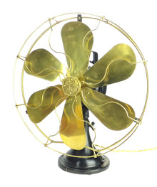 "Circa 1915 16"" 6 Blade GE 3 Star Oscillator Brass Blade/Cage Electric Fan."