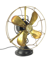 "Circa 1916 12"" GE 3 Star Brass Blade Guard Oscillating Desk Fan"