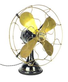 "Circa 1913 Robbins & Myers ""Gearback"" 16"" Oscillating Desk Fan 60v DC Pristine Original Finish"