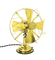 "Circa 1913 Diehl 8"" All Brass Desk Fan"