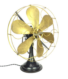 "Circa 1917 16"" Westinghouse 6 Brass Blade and Cage Residential Fan"