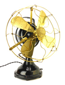 "Circa 1912 12"" Hunter Electric Kidney Oscillator Desk Fan"