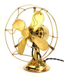 """1919 8"""" GE All Brass Stationary Desk Fan"""