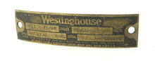 Original Westinghouse Stamped Steel Motor Fan Tag DC 272854B