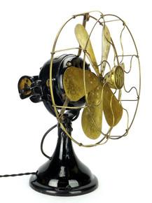 "Original RARE 12"" FWEW 6 Blade Sidewinder Brass Fan"