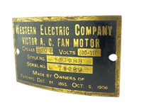 Original Western Electric Victor Tank Motor Fan Motor Tag Style 107988 w/Screws