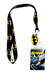 Batman Classic Bat Symbol Lanyard ID Holder with Charm