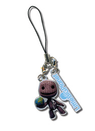Little Big Planet: Sack Boy Holding Earth and Logo Phone Charm
