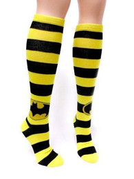 Batman: Black Yellow Logo Striped High Socks