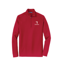 Red Pinpoint Mesh 1/2 Zip Pullover